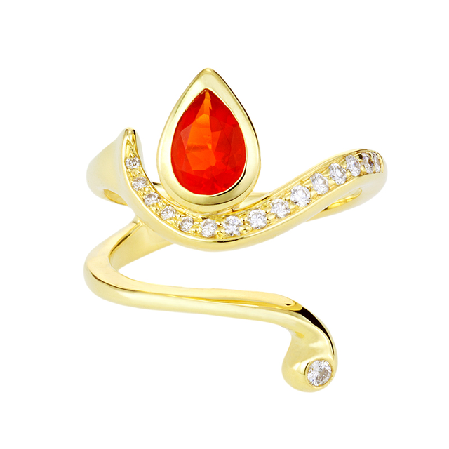 Swoonery-Fire Opal Serpentine Sleeps Wrap Ring