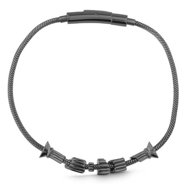 Swoonery-BLACK RHODIUM SHATTERED COLUMN BRACELET