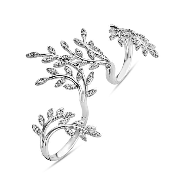 Swoonery-Leaves Three Finger Ring