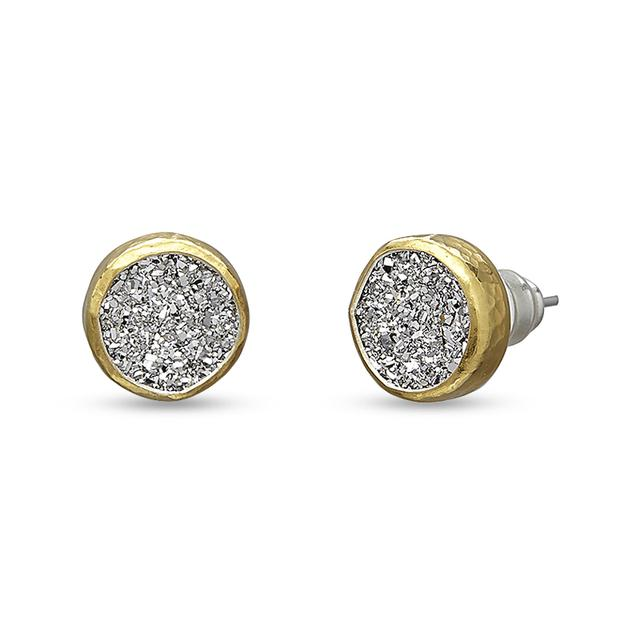 Swoonery-Mystere Round Drusy Sterling Silver Stud Earrings