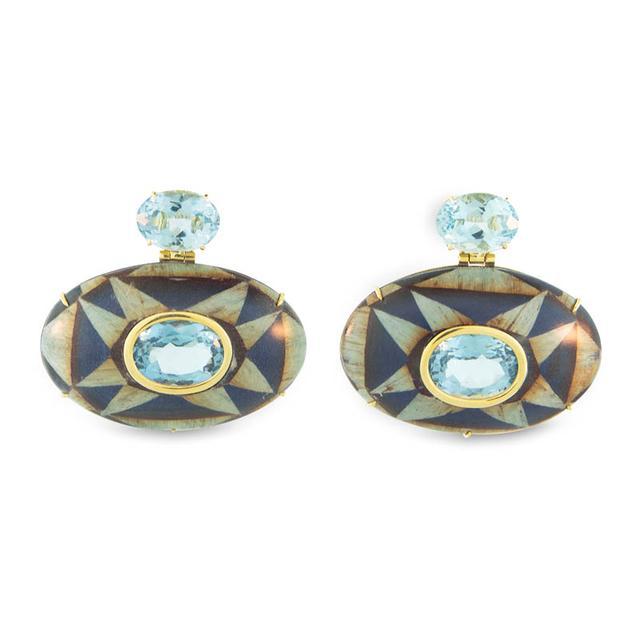 Swoonery-Marquetry Geometric Blue Wood Earrings