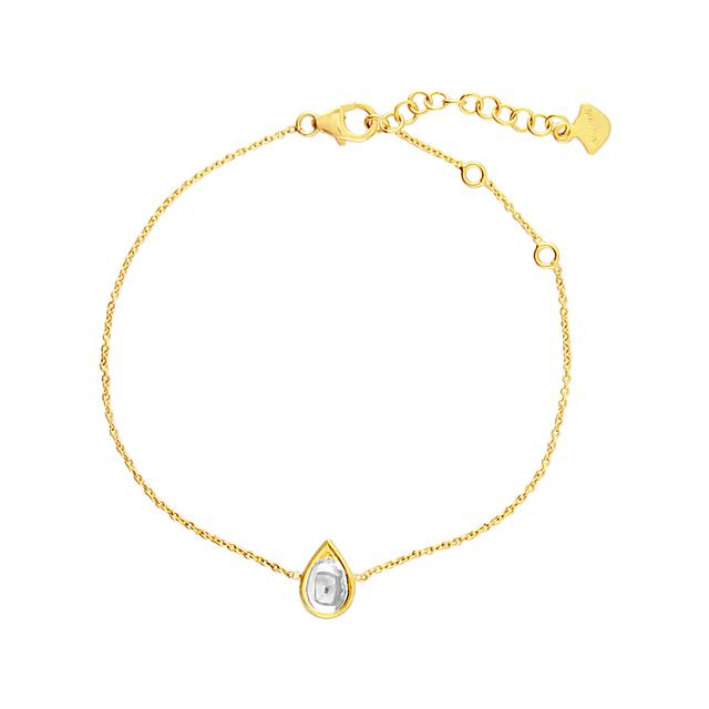 Swoonery-Kundan Vintage Diamond Teardrop Fine Chain Bracelet
