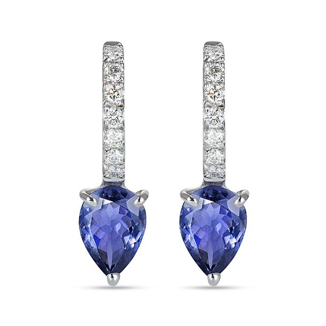 Swoonery-Iolite Theodora Small Hoop Earrings