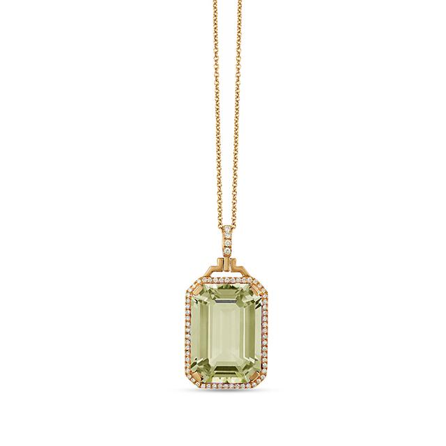 Swoonery-Gossip Collection Emerald Cut Diamond Pendant With Prasiolite