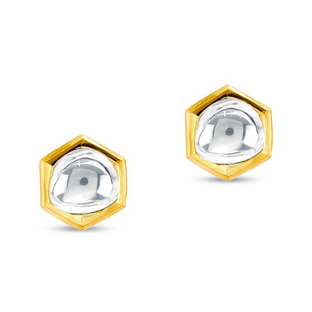 Swoonery-Kundan Vintage Diamond Hexagon Stud Earrings
