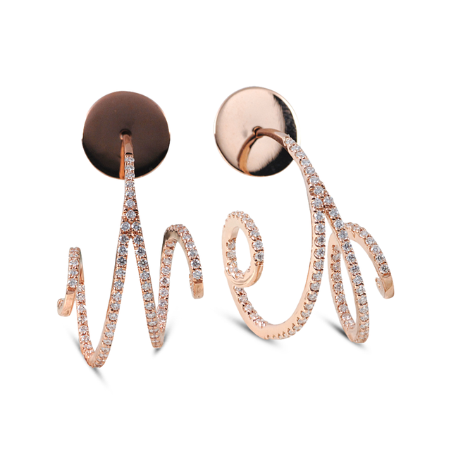 Swoonery-Rose Gold Wave Hoop Mini II Diamond Earrings