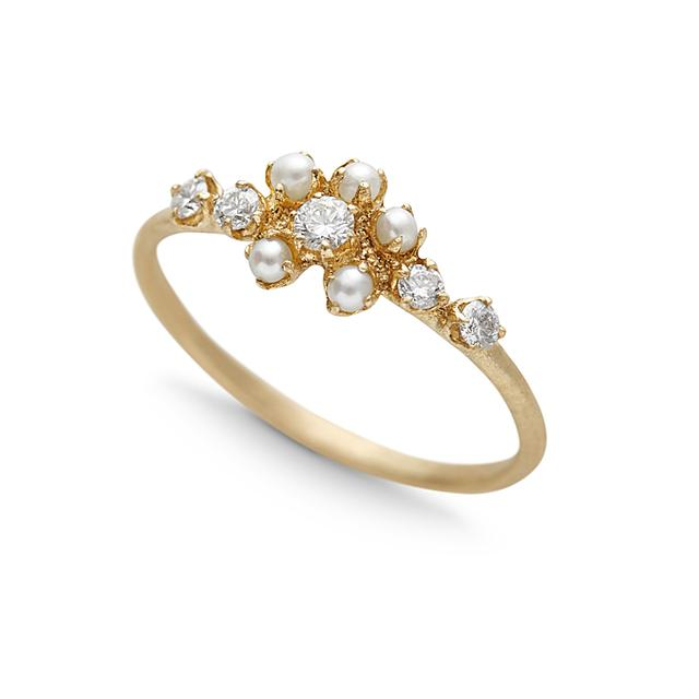 Swoonery-Pearl And Diamond Cluster Ring