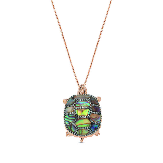 Swoonery-Aqua Light  Turtle Necklace with Precious Stones