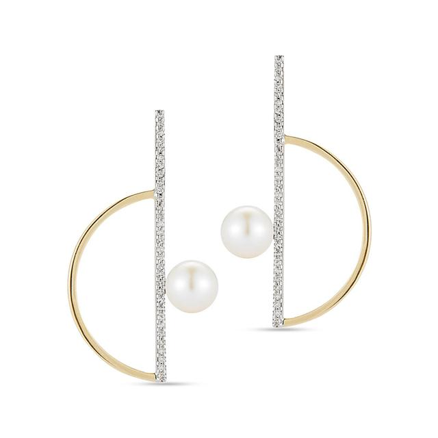 Swoonery-Pearl Semicircle Earring with Diamonds
