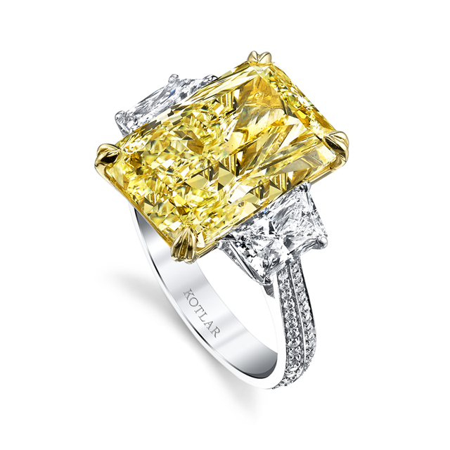 Swoonery-Fancy Yellow 10.11ct Radiant Cut Harmonie Ring