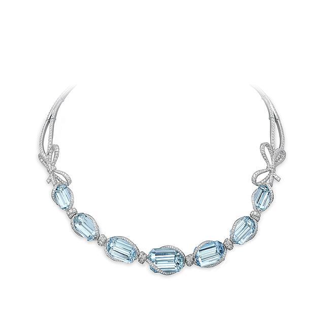Swoonery-Lyla'S Bow Aquamarine Necklace
