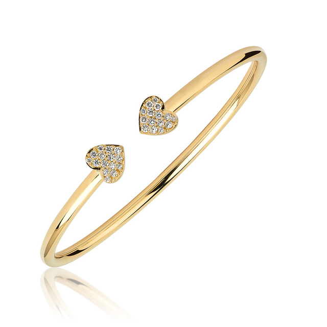Swoonery-Yellow Gold Heart Bangle