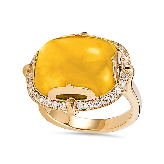 Swoonery-Rock-N-Roll Collection Cushion Cab Ring With Citrine