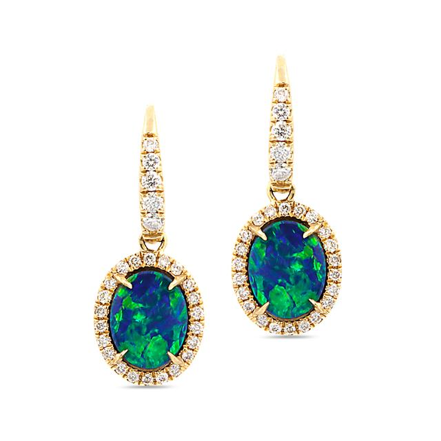Swoonery-Petite Dangling Oval Blue Opal Earrings