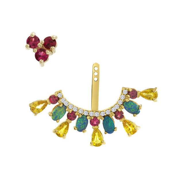 Swoonery-Red Spinel Stud And Ear Jacket