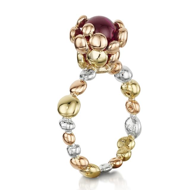 Swoonery-Coalescence Ruby Tri Gold Ring