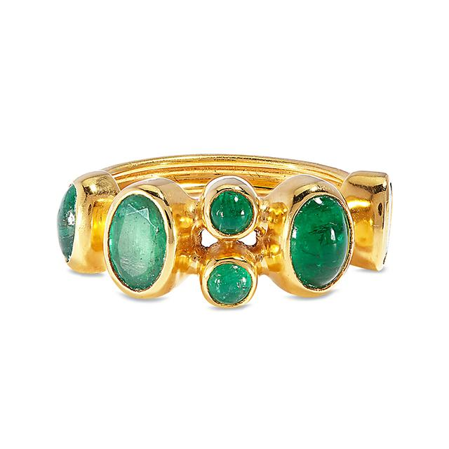 Swoonery-Emerald Amulet Ring
