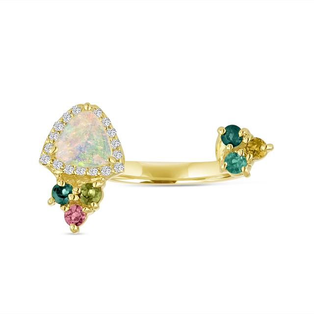 Swoonery-Tourmaline and Opal Open Finger Ring