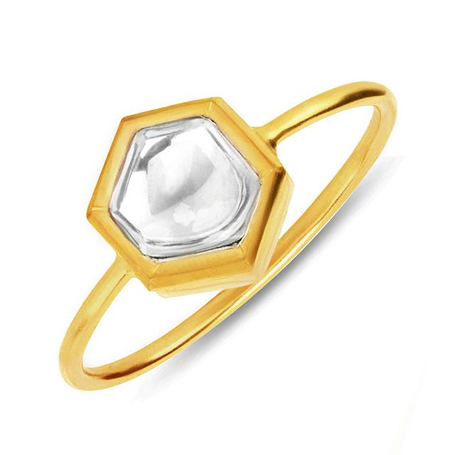 Swoonery-Kundan Vintage Diamond Hexagon Ring