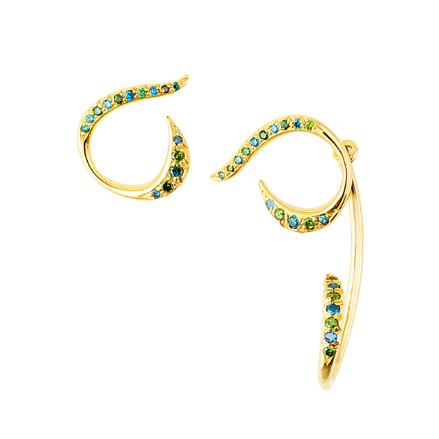 Swoonery-Yellow Gold Serpentine Sleeps Stud & Jacket