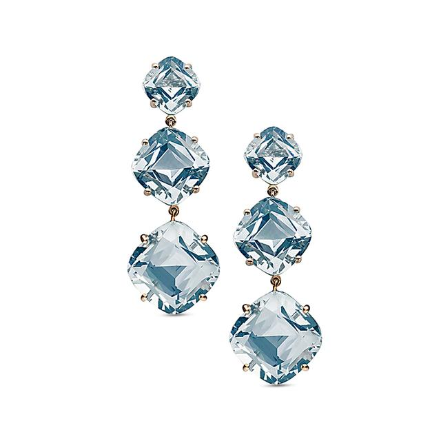 Swoonery-Gossip Collection Cushion Drop Earrings With Topaz
