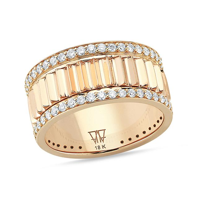 Swoonery-Diamond Thin Fluted Band Ring