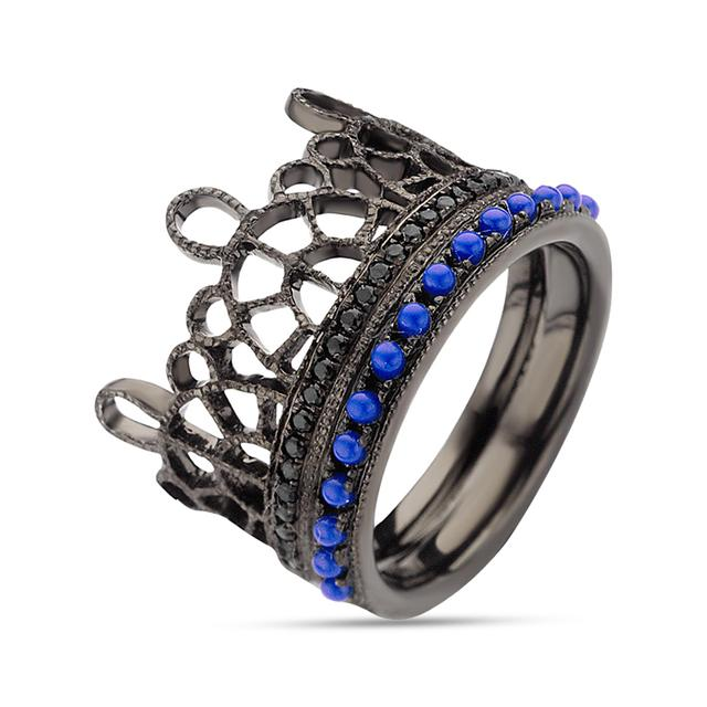 Swoonery-Black and Blue Lace Ring