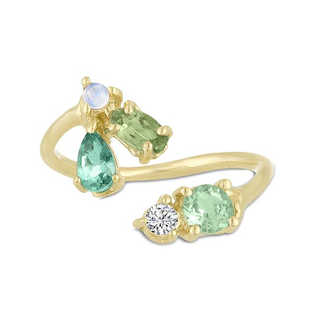 Swoonery-Emerald, Opal and Tourmaline Open Finger Ring