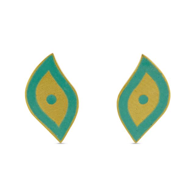 Swoonery-Turquoise Holi Enamel Earrings