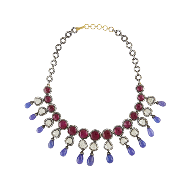Swoonery-Magestic Diamond, Ruby and Tanzanite Set