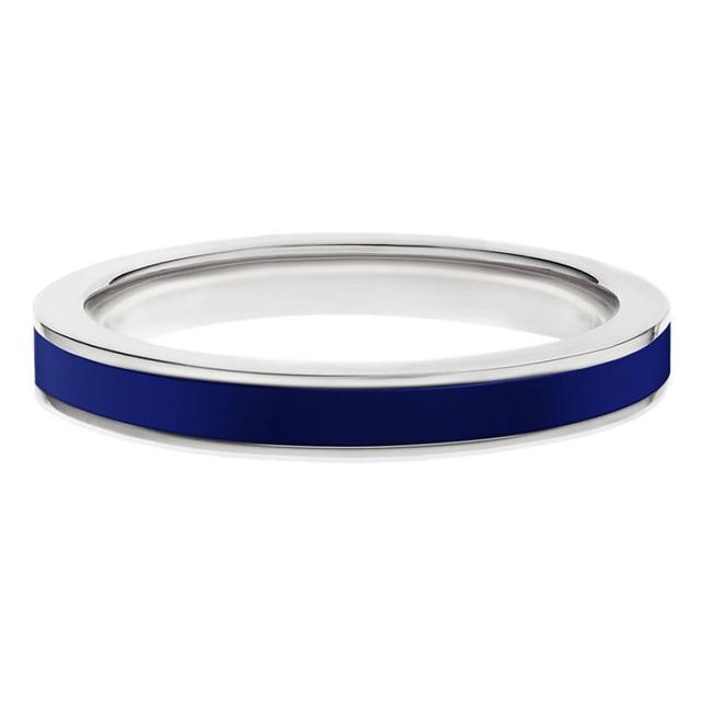 Swoonery-White gold blue enamel stack band