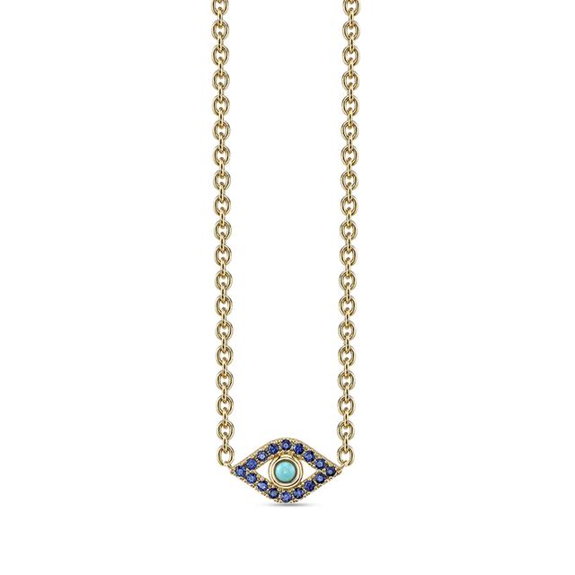 Swoonery-Extra Large Bezel Evil Eye Necklace