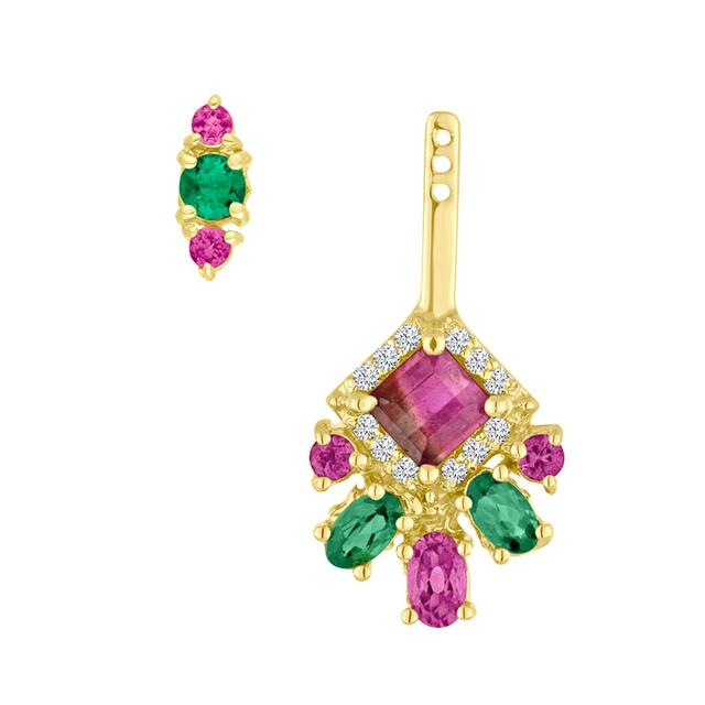 Swoonery-Bicolor Tourmaline Diamond Ear Jacket And Stud