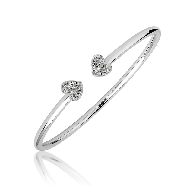 Swoonery-White Gold Heart Bangle