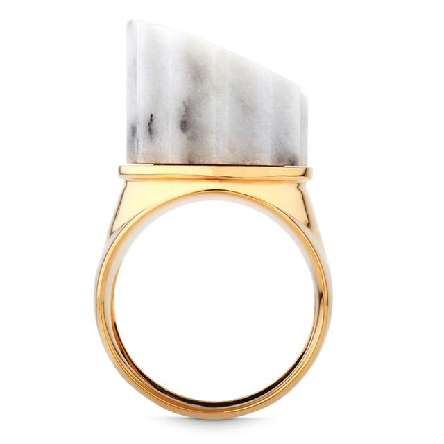 Swoonery-WHITE MARBLE INCOMPLETE COLUMN RING