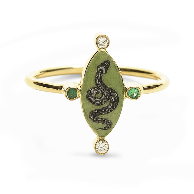 Swoonery-Holly Dyment Go Lightly Enamel Green Snake Ring