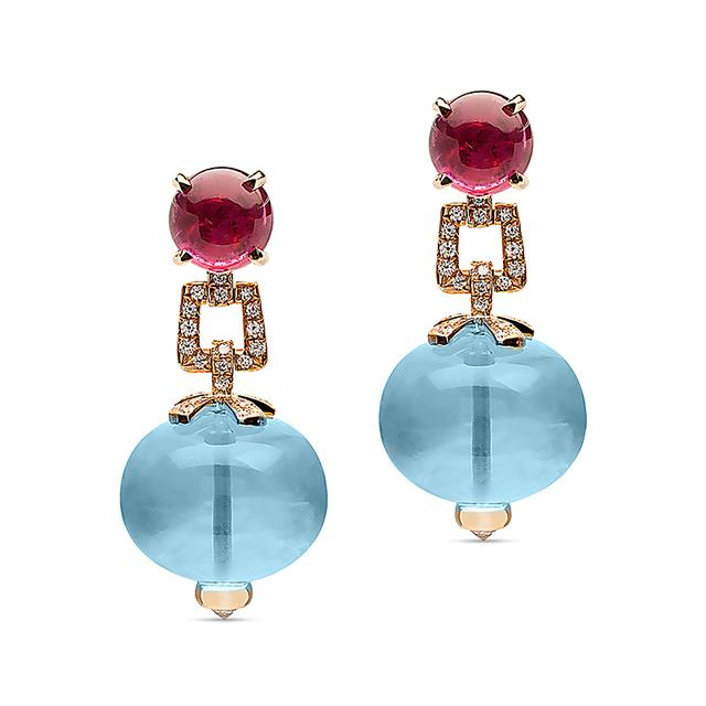 Swoonery-Beyond Collection Topaz & Rubelite Earrings