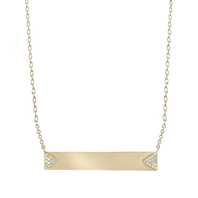 Swoonery-Diamond Double Triangle Namepate Necklace