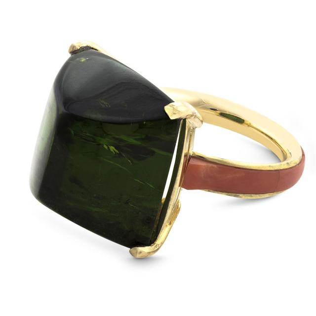 Swoonery-GREEN TOURMALINE AND RED CORAL COCKTAIL RING