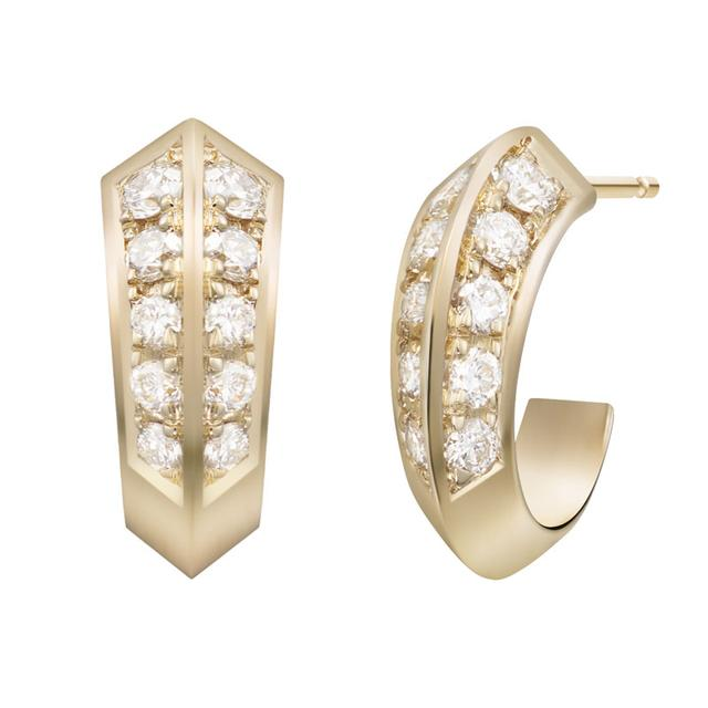 Swoonery-White Diamond Eva Huggie Hoop Earrings