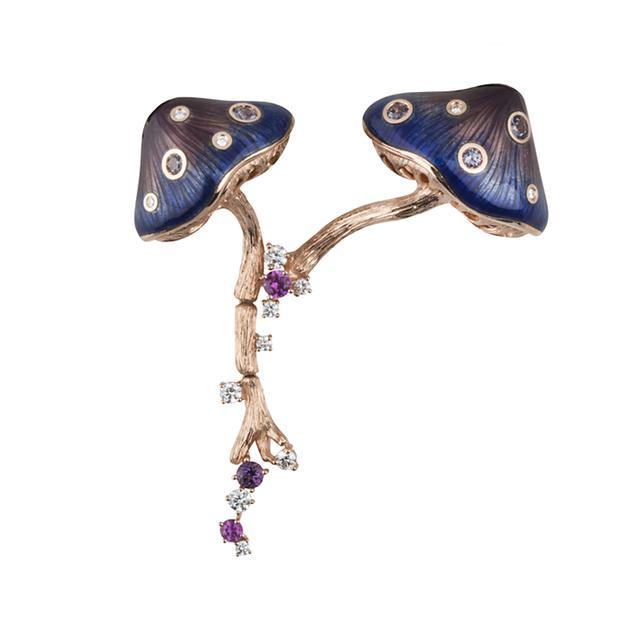 Swoonery-Mushroom Two Pin Brooch