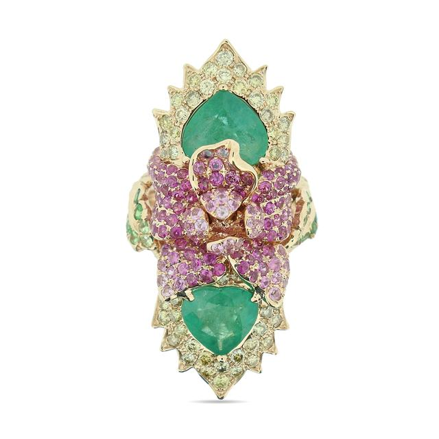 Swoonery-Emerald and Sapphire Tiger Lily Ring