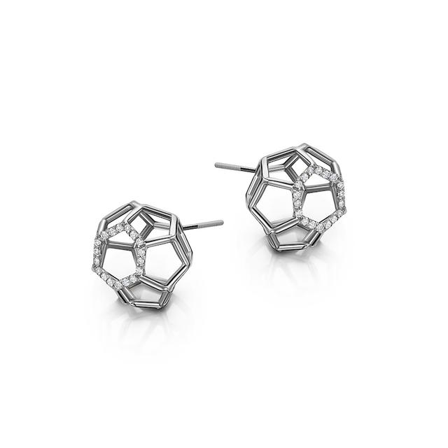 Swoonery-Air Sphere Platinum Earrings