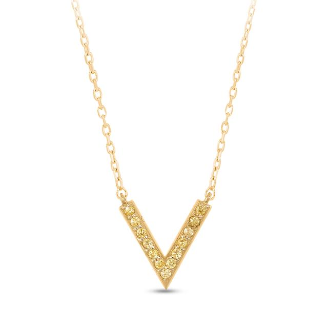 Swoonery-V Necklace in Yellow Sapphire