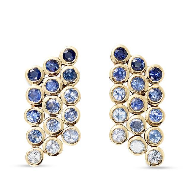 Swoonery-Sapphire Mini Fringe Earrings