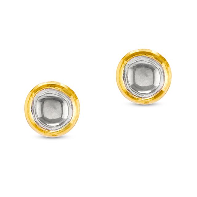 Swoonery-Kundan Vintage Diamond Round Stud Earrings