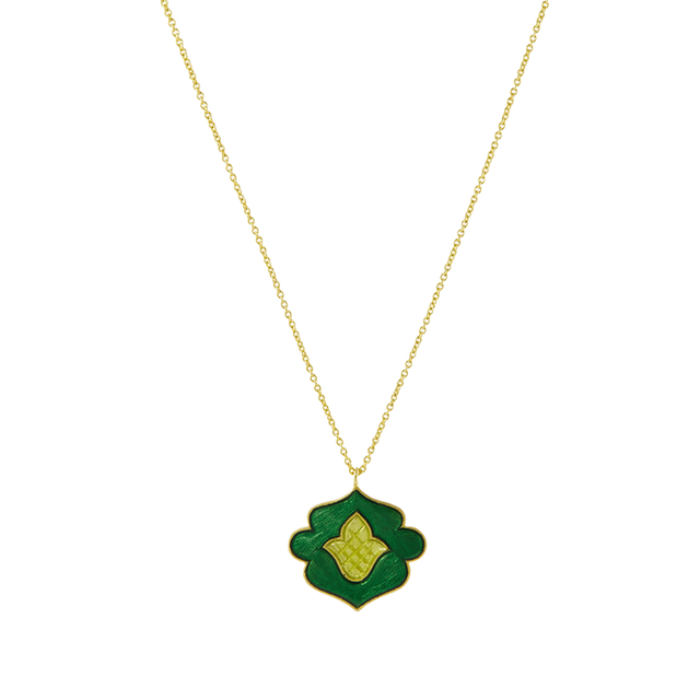 Swoonery-Green And Yellow Holi Enamel Necklace