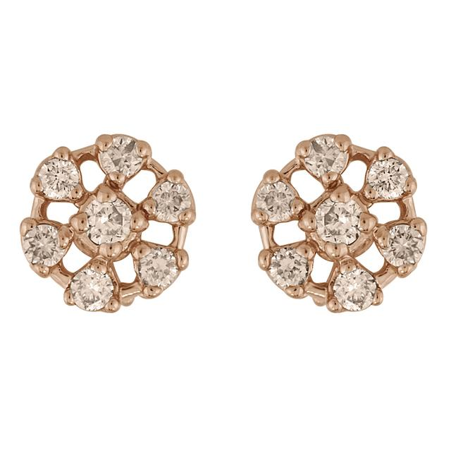 Swoonery-ROSE GOLD FLOWER STUD EARRINGS
