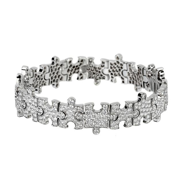 Swoonery-White Gold White Diamonds Puzzle Bracelet