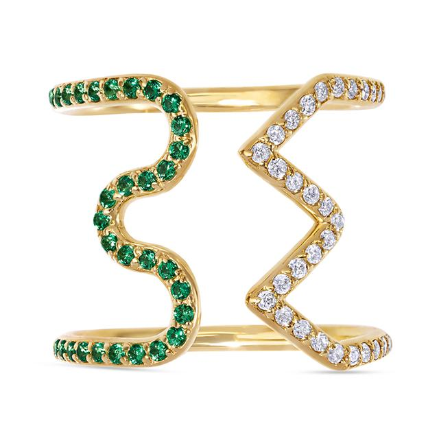 Swoonery-Wave Zigzag Ring set with Tsavorite and White Diamonds